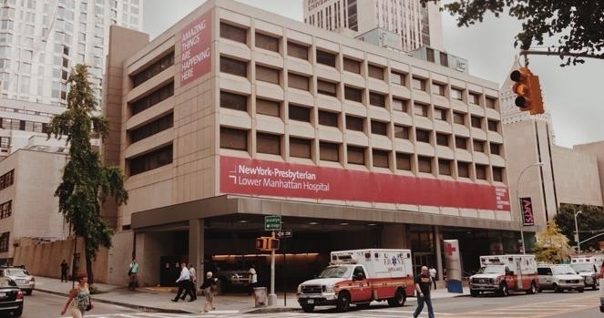 Entrance to NewYork-Presbyterian Lower Manhattan hospital.